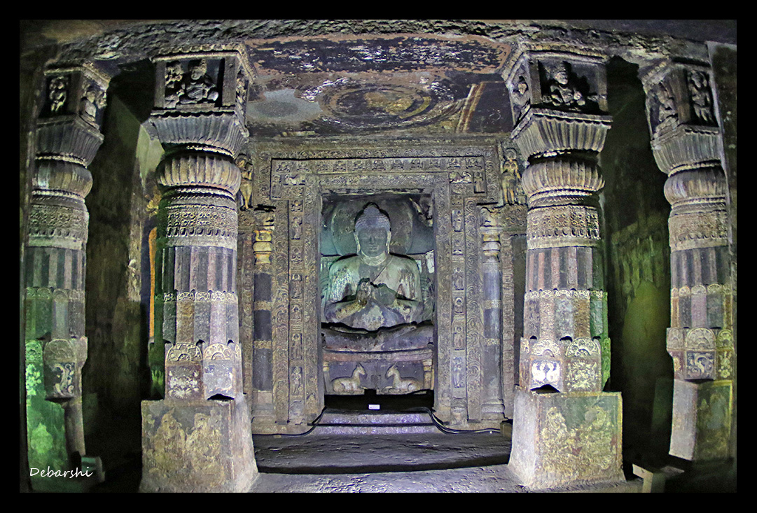Ajanta Caves Buddha in preaching position in Cave 4