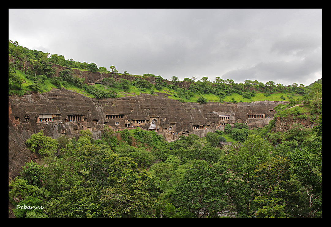 Ajanta Caves Panorama View of the Horseshoe Shaped Cliff