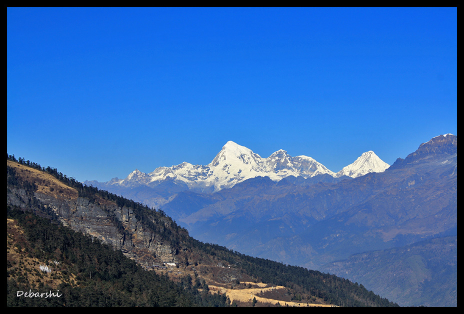 Mount Jhomolhari from Chele La in Bhutan