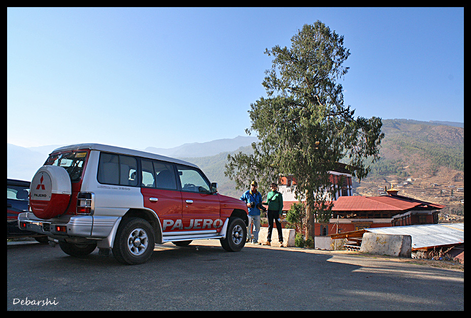 Parking in front of Paro Dzong
