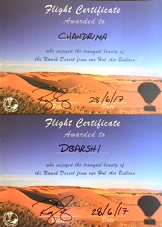 Certificates on completion of Balloon Ride