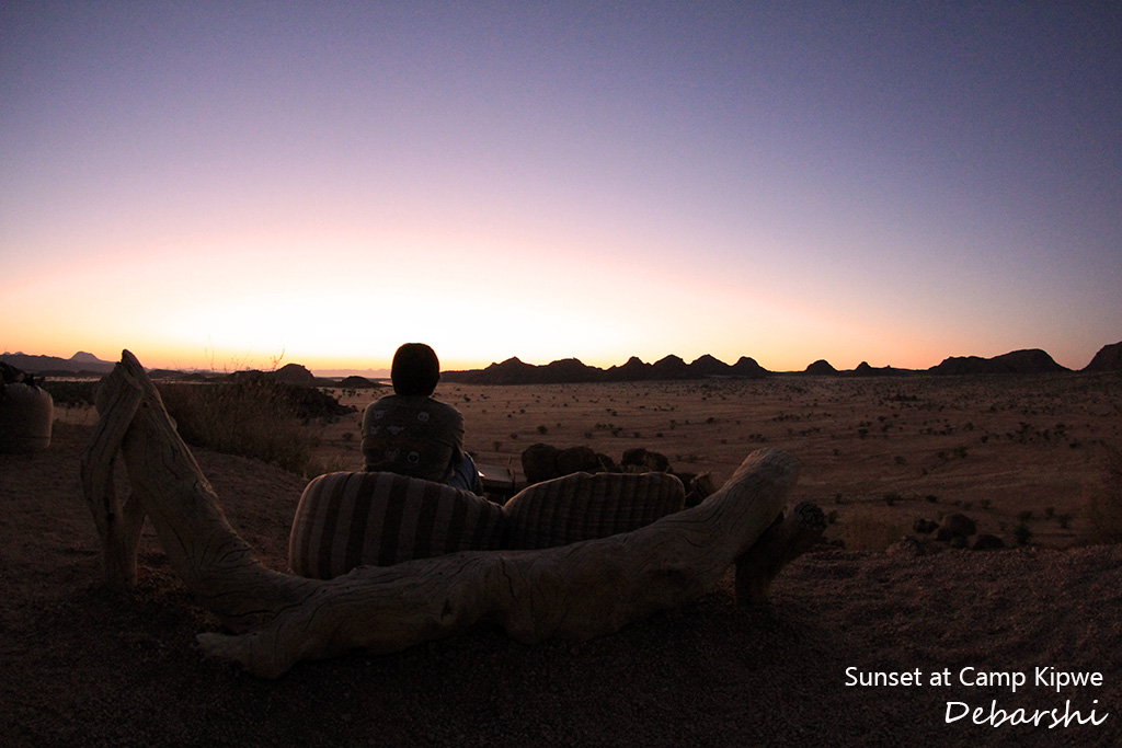 Sunset in Camp Kipwe in Twyfelfontein