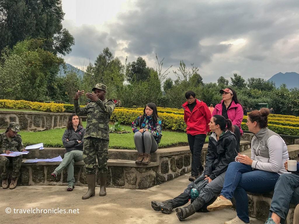 Volcanoes National Park Briefing before the Golden Monkey trek