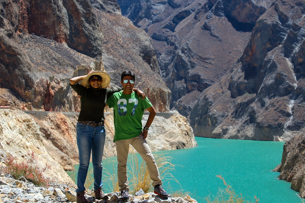 Chandrima and Debarshi at the reservoir after Maowu tunnel