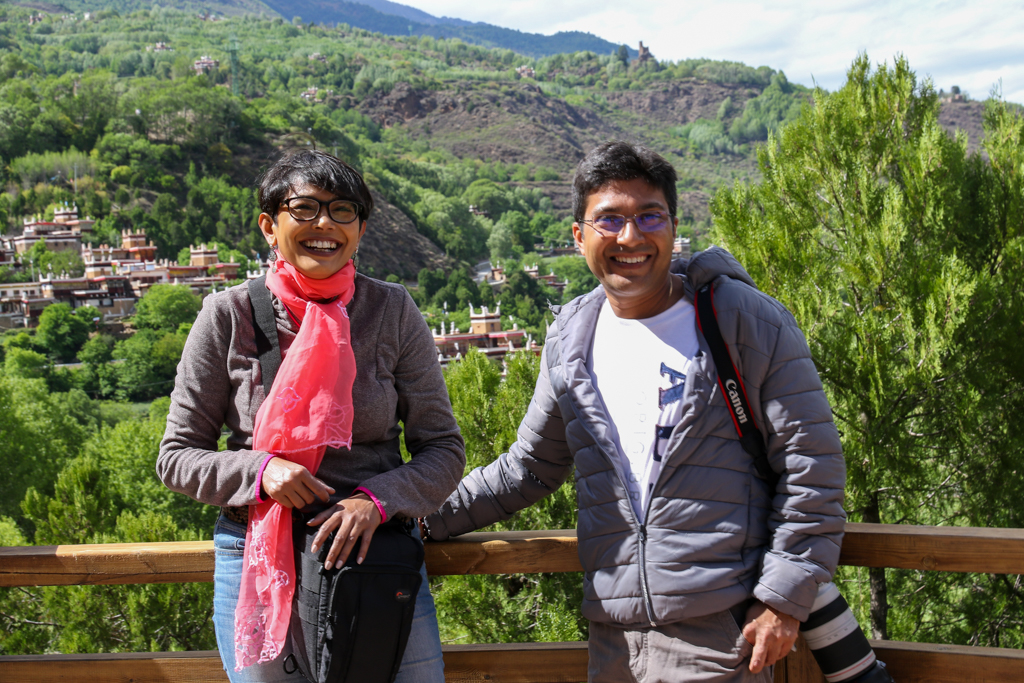 Chandrima and Debarshi with Jiaju village in the backdrop