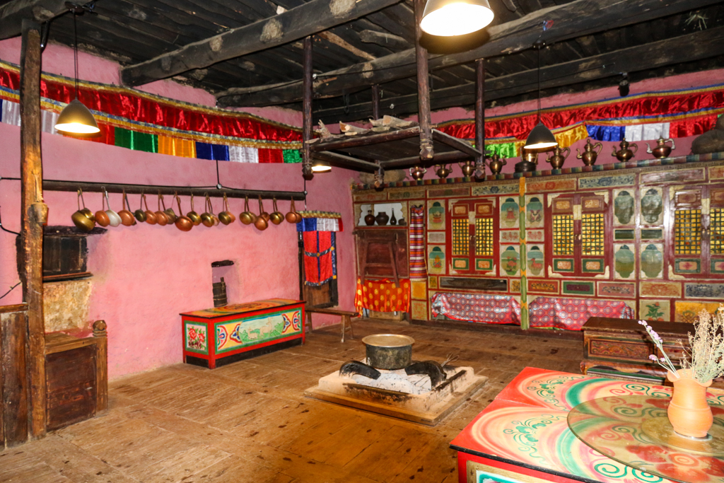 A typical community dining area in a Tibetan village home