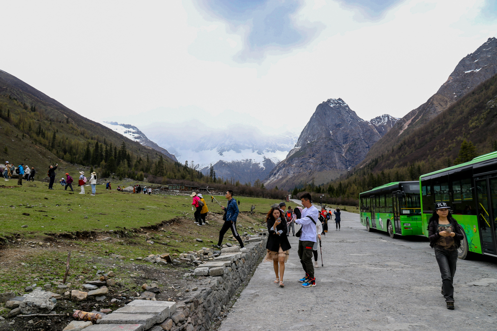 Buses that take tourists to Shuangqiao Valley