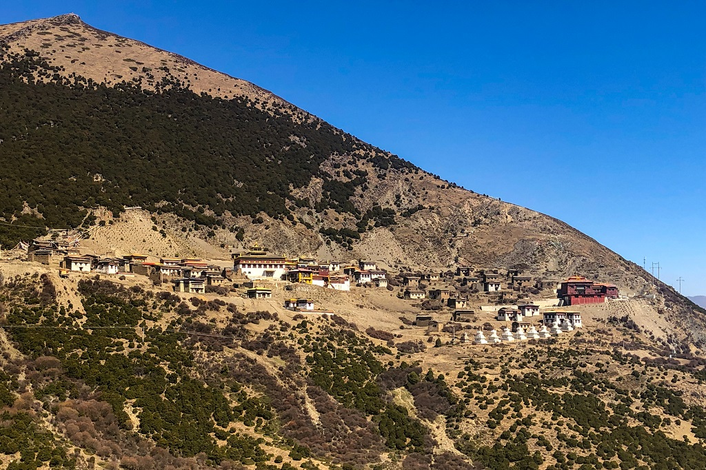 Monastery and village across the Bowa mountain pass