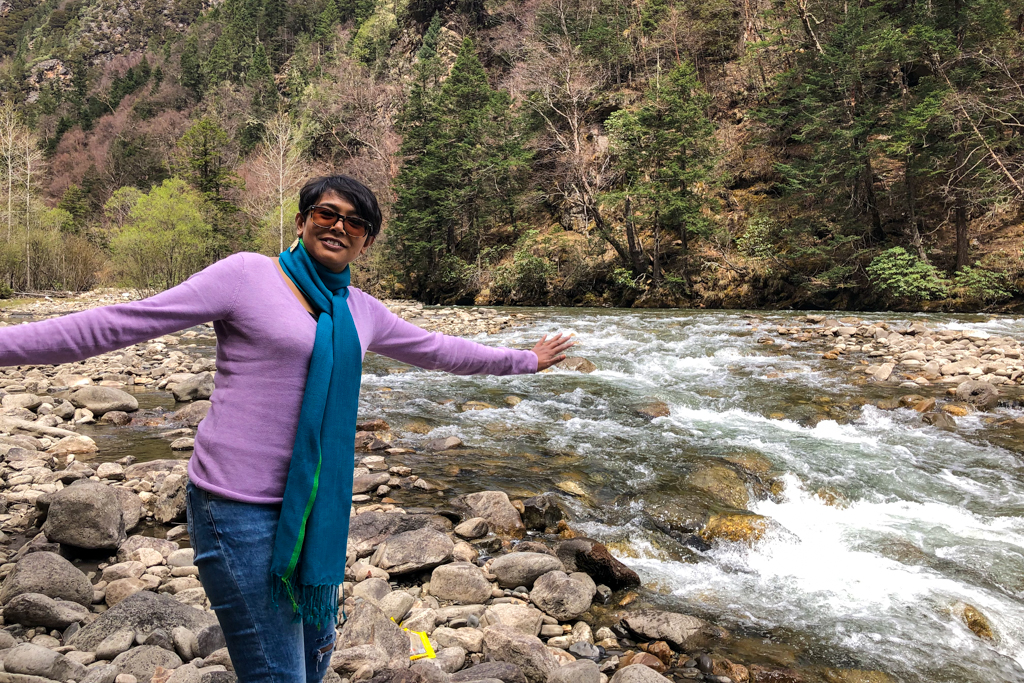 Chandrima by the river on way to Moska