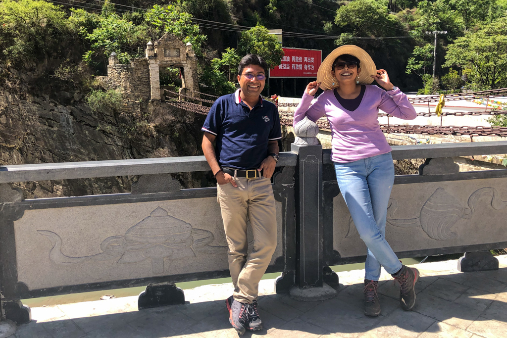 Chandrima and Debarshi in front of Luding Bridge