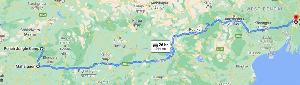 Pench to Kolkata Route